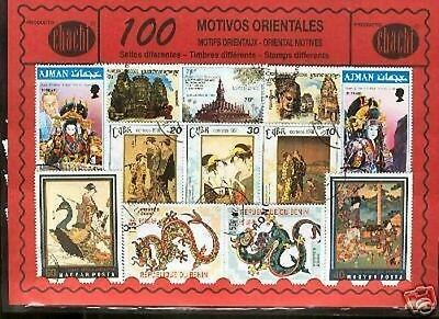 100 stamps different world in used @@ Theme : ORIENTAL MOTIFS @@