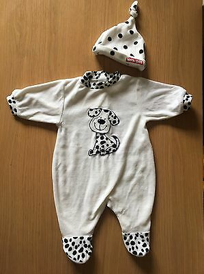 White Fleece Dalmatian All In One Babygrow  Romper with Hat 0-3 Months
