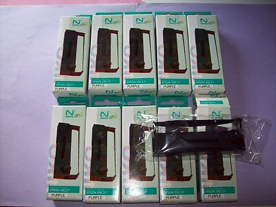 lot 10 Ruban Cassette Cartouche encre Purple EPSON erc27 , 290 , CTM290 , TM290