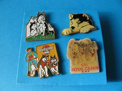 4, Husky Dog Related Pin badges. Good Condition. Huskies.