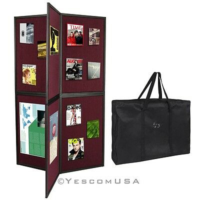 Burgundy 6 Folding Panel Display Presentation Board 360 Degree Trade Show Booth