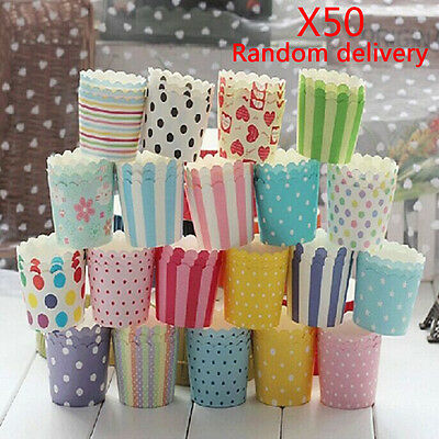 50pcs Colorful Paper Cake Cupcake Liner Case Wrapper Muffin Baking Cup Party