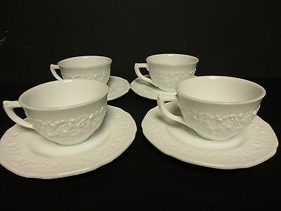 Indiana Glass Custard Glass Ivory Four Cup/Saucer sets