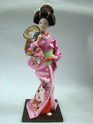 Oriental Broider Doll,Japanese Old style figurine Japanese doll girl pink