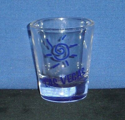 Las Vegas, Nevada with Stylized Sun in Blue on 1oz Glass Shot Glass - NEW