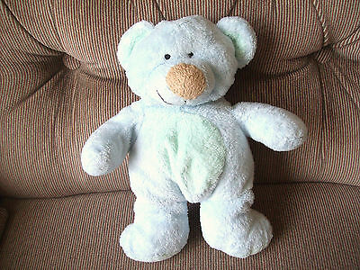 Ty Pluffies BLUEBERRY Blue Teddy Bear Tylux Plush Stitched Eyes Brown Nose 2003