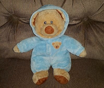 "10"" Ty Pluffies BABY BEAR BLUE PJ Love To Baby Plush 2012 Blue Non Removable PJs"