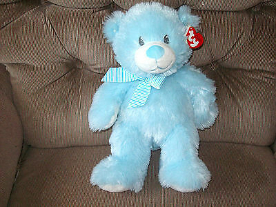 Ty Classic SWEET BABY My First Teddy Pastel Blue Feather Fur plush Bear 2013 NWT