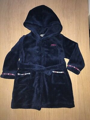 Jasper Conran Junior J Blue Fleece Hooded Dressing Gown/Robe 12-18 Months