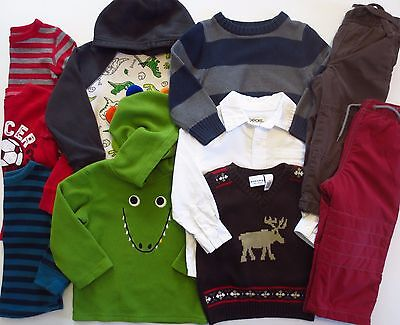 Lot Toddler Boys Size 24 Months 2T Fall Winter Clothes Pants Shirts Sweatshirts