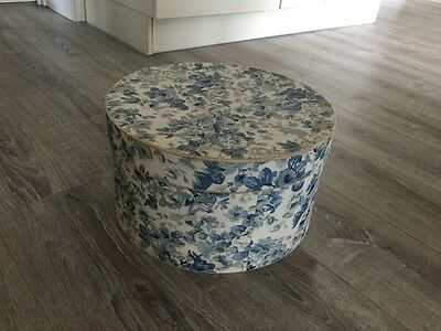 Damask Blue Floral Fabric Covered Hatbox - Sturdy Box - Shabby Chic