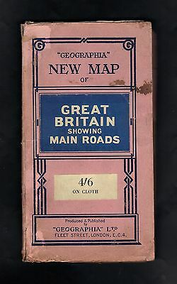 Vintage Linen Geographia Road Map of Great Britain