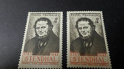 FRANCE 1942, VARIETE LIGNE ROUGE timbre 550 STENDHAL neufs** MNH VARIETY STAMPS