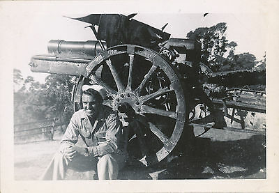WWII 1944 60th NCB Seabees NG Photo # 11 Japanese artillery piece & Seabee