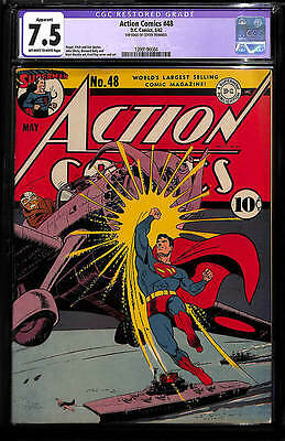 Action Comics #48 (1942) CGC 7.5 VF- OWW pgs Classic WWII Cover!