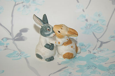 Salt And Pepper Pots - Franklin Mint - Noah's Ark Two By Two - Rabbits