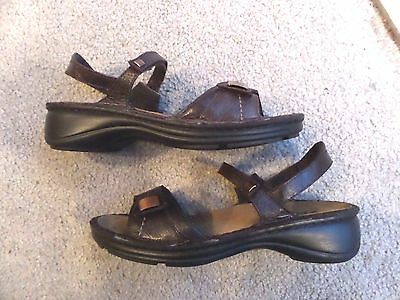 """""""naot"""" Brown Leather Ankle Strap Sandals Wmn 7M (38) Very Nice"""