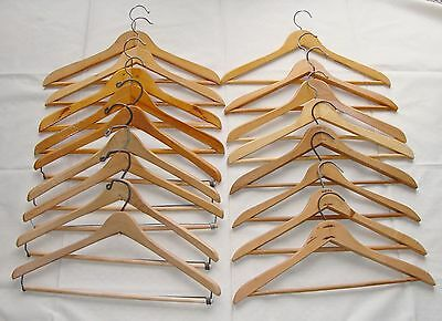 """Lot of 17 Vintage 17"""" Wooden Clothes Hangers Pant Bar Wishbone Nagel W Germany"""