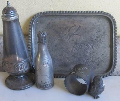 Victorian BABY CHICK FIGURAL NAPKIN RING  Engraved Silverplate CARD TRAY,SHAKERS