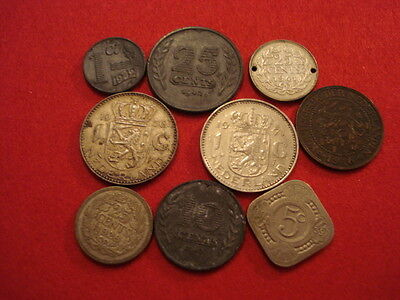 9 Netherlands Coins 1916 - 1971 (3 Silver)