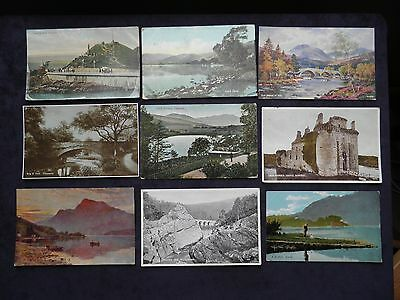 9 Old Scottish Postcards, Loch Earn, Dunoon, Trossachs, Ben Lomond, Caerlaverock