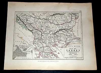MAP OF TURKEY showing War with RUSSIA 1807-1812 - ALISON'S ATLAS 1850 map 72