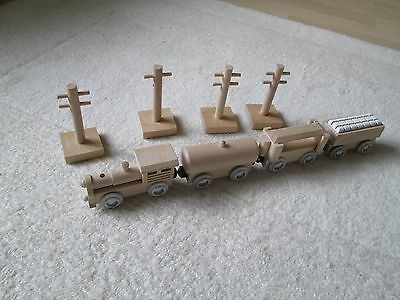 Wooden Train with Trucks and signal posts.  Lovely clean items.
