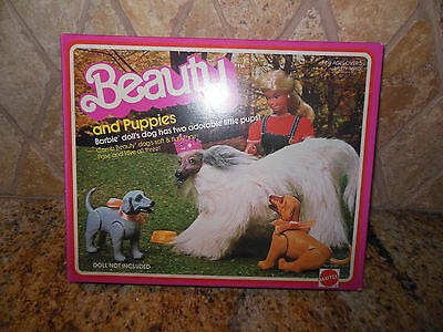 Vintage Barbie Doll Barbie's Afghan Hound Dog Beauty & 2 Puppies & Accessories