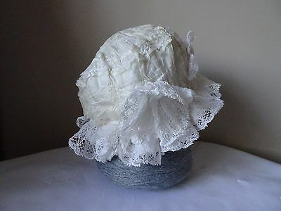 Antique Cream Silk and White Cotton Lace Baby's Bonnet - Doll