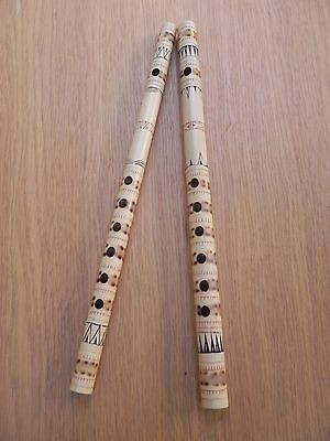 Two Decorated Bamboo Pipes/Flutes/Musical Instruments Sulawesi, Indonesia