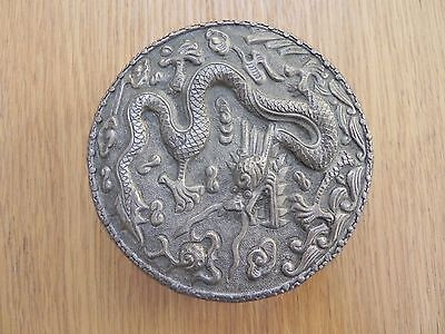 Repousse Plated Round Trinket Box Mirror Inside Lid. Dragon Pattern. Chinese?