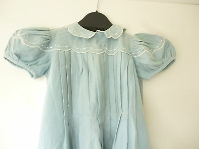 "vintage 1940s/50s childs home made blue flannel dress 23"" long neck to hem"