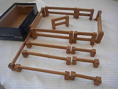 shoe box of vintage handmade wood toy farm fences, 2 heights, 2 lenghts,