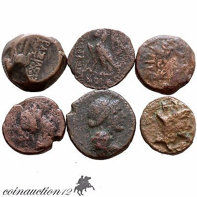 Group Of 6 Ancient Greek Bronze Coins , Uncertain Coins