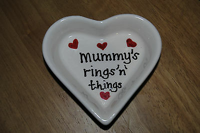 """Porcelain heart trinket dish """"Mummy's rings 'n' things"""" NEVER USED great gift"""