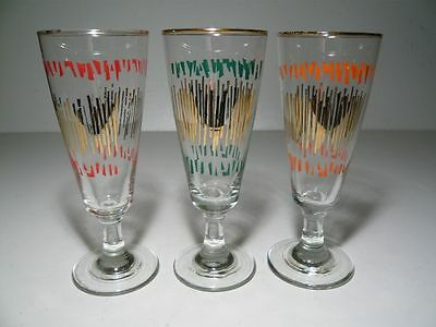 Set of 3 vintage 50s Wine Glasses gilt orange red green RETRO Collectable 15cm