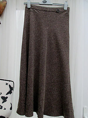 New Lovely M&s Fleck Chocolate Mix A Line Skirt,lined Size 10.polyester Viscose