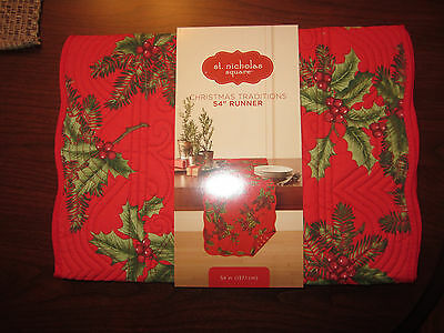 "Nwt St. Nicholas Square Christmas Traditions Table Runner 54"" Red Holly Quilted"