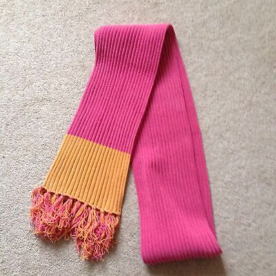 Knitted Scarf Pink/Orange Longer Length 88 Inches.