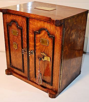 1895 Registered Oak 'safe' Smokers Cabinet - Or Jewellery Case/ Chest? Victorian