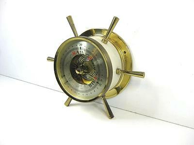 "Vintage Lovely LARGE 9"" Diameter BRASS ships Barometer with finials   WORKING"