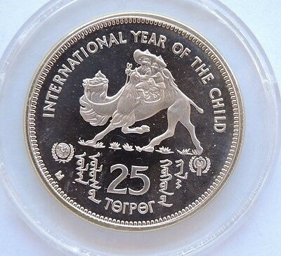 Mongolia 1980 Silver Proof 25 Tugriks International Year Of The Child Coin