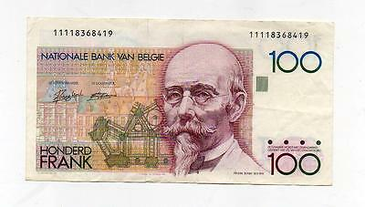 (A848)  Belgium Belgian 100 Frank Banknote  see scans  more listed