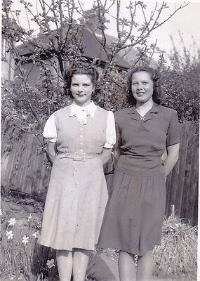 Vintage Old Photo Two Pretty Young Ladies Skirts Smiling Lips Garden 1930's