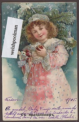 Lovely Antique 1905 Girl & Toys Christmas Postcard Poland Russia
