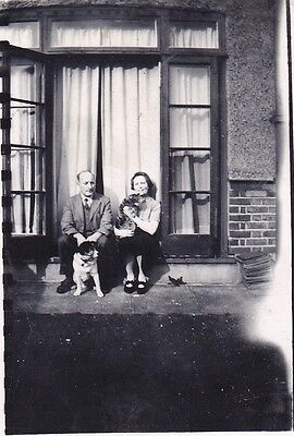 Vintage Old Family Photo Man Lady With Cat And Dog By Patio Windows 1930's