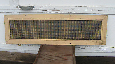 "old 11x37"" HEATING FLOOR REGISTER w CORRUGATED GRATE/AIR VENT-FUNERAL PARLOR VTG"