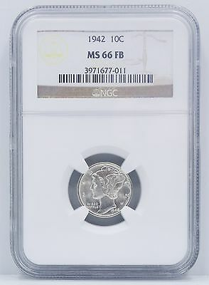 1942 Philadelphia Mercury Dime NGC MS 66 FB A72