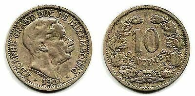 Luxembourg, 10 Centimes, 1901, 20 mm, 2.95 gr, Copper-Nickel, KM# 25