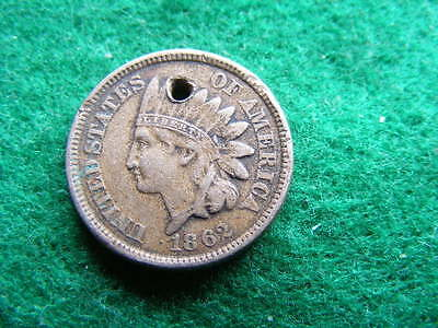 USA Cent 1862 holed VF